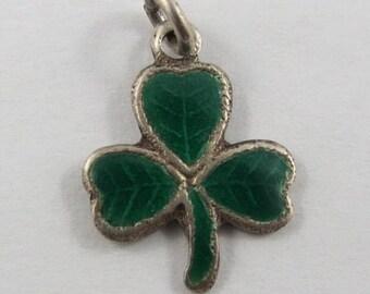 Green Enamel Three Leaf Clover Sterling Silver Vintage Charms For Bracelet