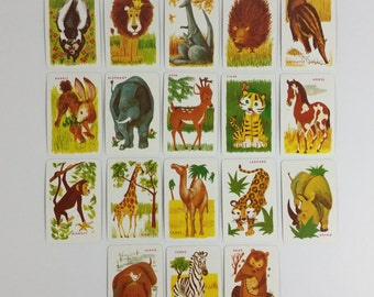 18 Vintage 1950s Children's Wild Animal Picture & Word Flash Cards