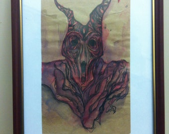 Abstract ink/watercolour fire demon painting