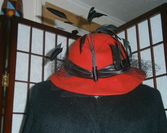 Women's Red Hat with Feathers