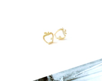 Apple Diamond Earring Gold 925 Sterling Silver Hallow Apple Diamond Stud Earring Unique Simple Cute Everyday Wedding Bridesmaid Bridal Gift