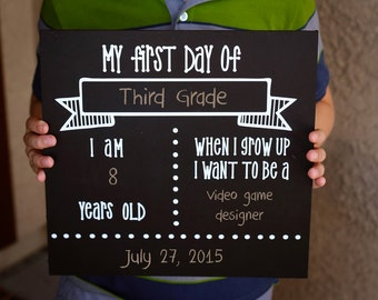DIY KIT -  Chalkboard Sign - Craft Kit - Create your own - Reusable Sign - Back to School - Do it Yourself Kit - First Day of School Picture