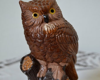 Hand Painted Perched Owl Figurine