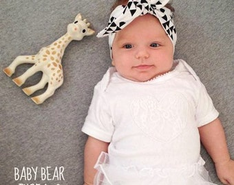White and Black Triangles - Knotted Headband - Baby Head Wrap