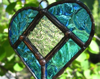 Sun-catcher, Beveled Heart, Stained glass heart