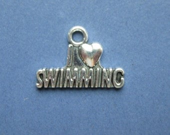 10 I Love Swimming Charms - I Love Swimming Pendants - Sports Charm - Swimming Charm - Antique Silver - 22mm x 15mm  -- (No.141-10685)