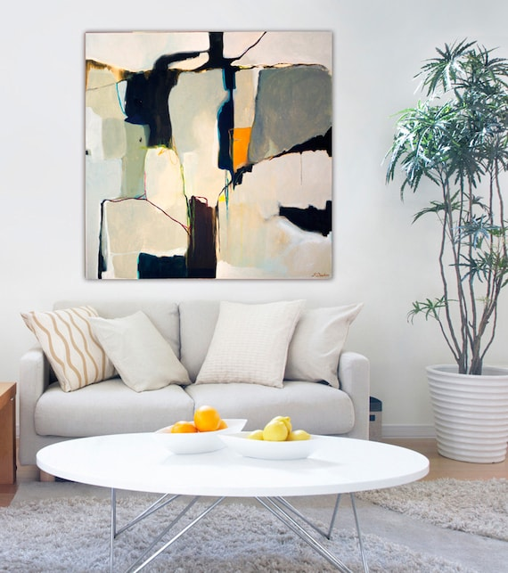 Abstract painting large abstract painting on by for Kitchen colors with white cabinets with large abstract canvas wall art
