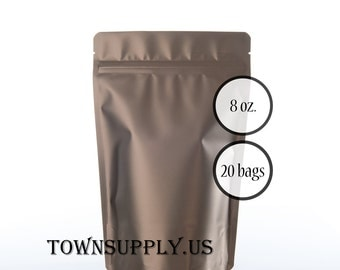 20 - 8 oz matte bronze stand up pouches, foil lined storage bags, food grade product packaging, resealable ziplock, wedding party favors