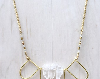 White Crystal Quartz & Hammered Brass Arches Necklace