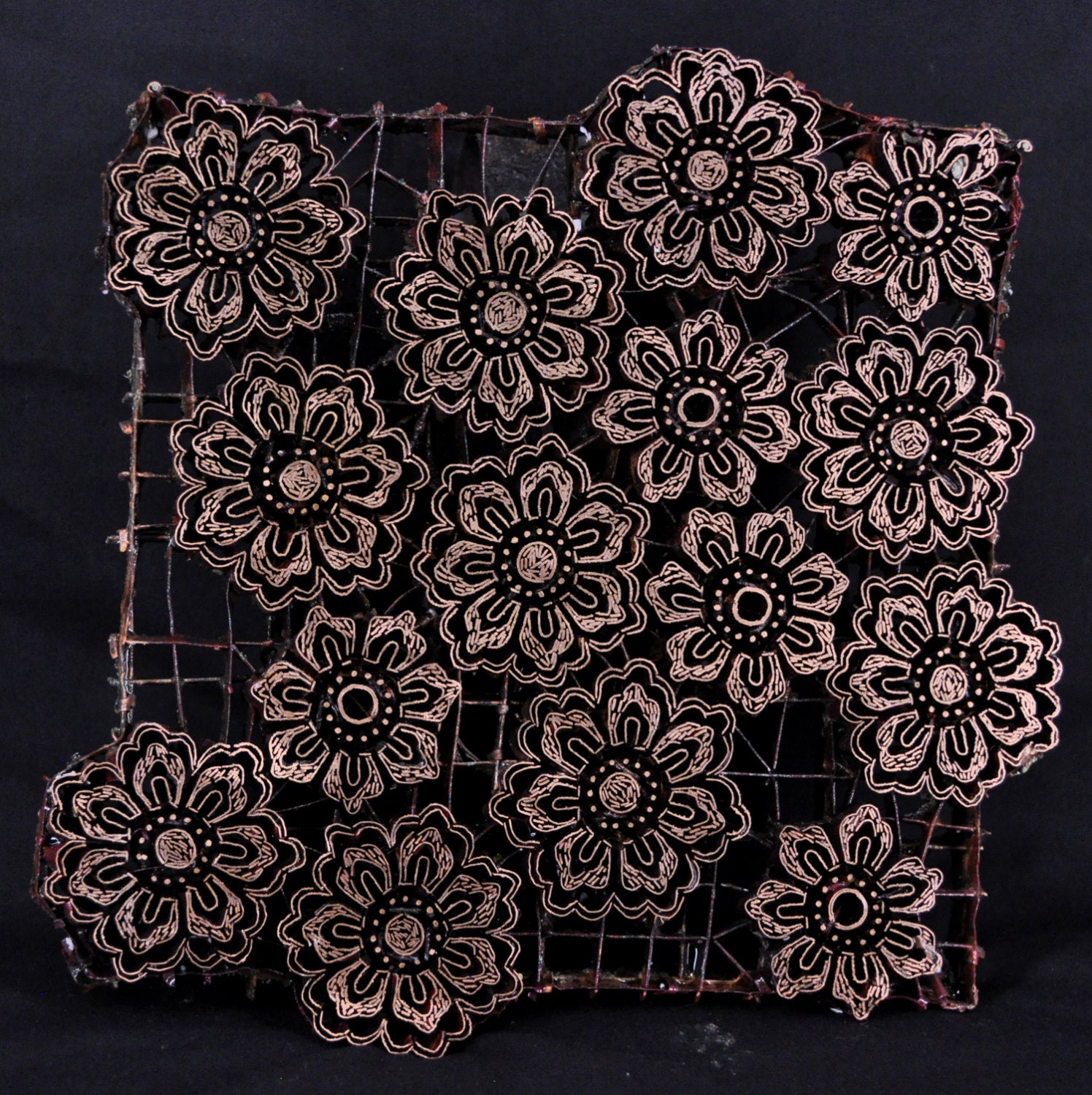 artisan batik cap chakra flowers from lunnfabrics on etsy studio. Black Bedroom Furniture Sets. Home Design Ideas