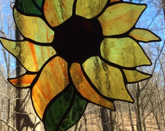 "9"" x 8"" Stained Glass Sunflower Window Panel"
