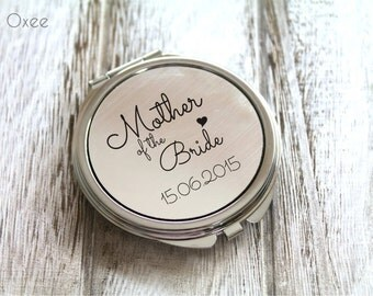 Personalized engraved pocket mirror   compact mirror   wedding gift   mother of the bride gift   birthday