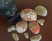 Painted Rock, yellow shades of orange collection Trio #18, Painted Stone, Mandala Inspired Design, Home Accents, Garden Art, Unique Gift