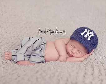 Newborn Newborn NY--crochet Baseball Cap,Crochet Yankees Hat,crochet baby shower gift--crochet Baseball outfit hat -- newborn hat