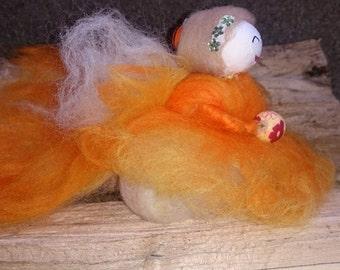 Wool Felt Fairy.  Tangerine Dream Faerie. Hand made fairy