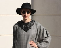 Kaftan/ Abaya checked grey/ black- resort wear- birthday gift-bedoin style-maternity