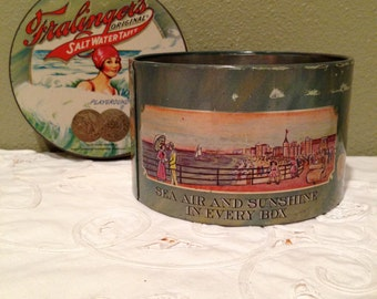 Fralinger's Salt Water Taffy Tin, Vintage from early century #G3