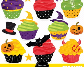 Halloween cupcakes clipart, Cupcakes and candies clip art set, Halloween digital clipart - instant download - CA198