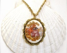 Scene Painting Cameo Necklace, Rococo Style, Scene Painting Signed by Jean-Honoré Fragonard, Vintage Cameo Necklace Romantic Vintage Jewelry