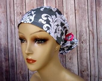 Womens Surgical Scrub Caps - Ponytail - Scrub Hat - Grey Flourish