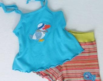 2 pcs toddler girls summer beachset, tanktop with jersey shorts size 18 months