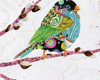 Art Print. Cafe Swirly Bird. Candy Colored
