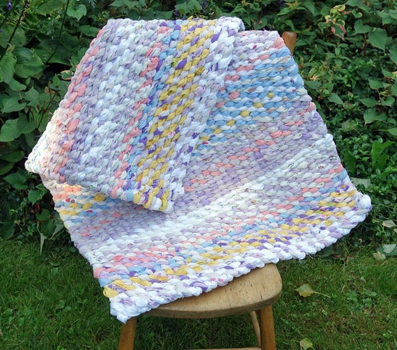 Purple Turquoise Rag Rug: Handwoven Rag Rug Pink Purple Yellow White Blue Rug Rag Rug