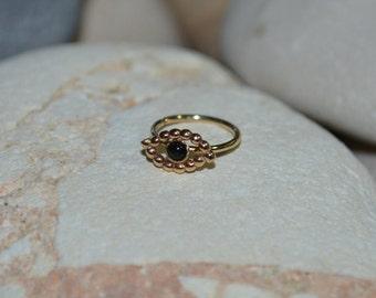 2mm Onyx 14k Gold Filled NOSE RING // Ear / Cartilage / Helix / Tragus hoop piercing. 20 gauge 20g