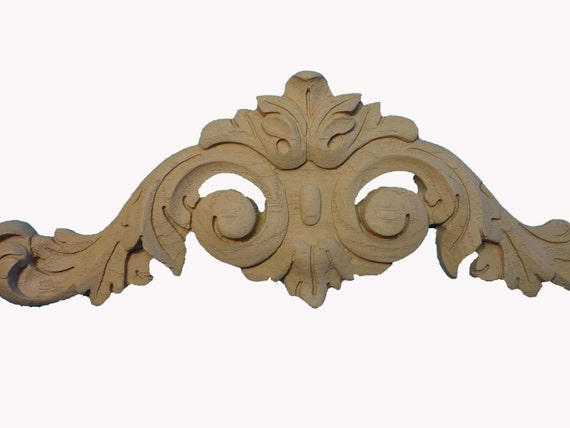 Large decorative accent applique onlay pair 2 wood for Decorative wood onlays