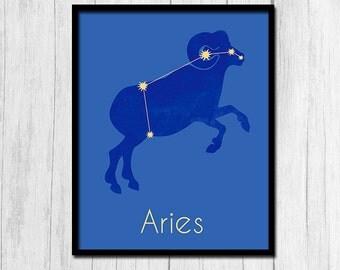 Aries Print Aries Zodiac Astrological Sign Poster Zodiac Sign Digital Download Horoscope Print Astrological Sign Print Aries Prints