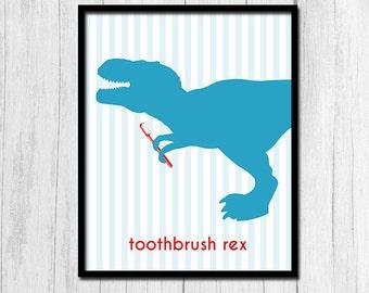 "Childrens Bathroom Decor ""Toothbrush Rex"" Bathroom Wall Art Digital Download Dinosaur Wall Decor Bathroom Art Dinosaur Bathroom Sign"