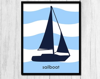 Sailboat Decor Decorations for Kids Bathroom Prints Nautical Bathroom Childrens Art Digital Download Instant Download Sailboat Printables