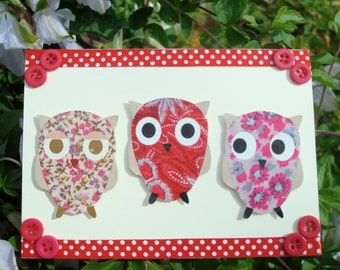 Three Owls Greetings Card and Envelope