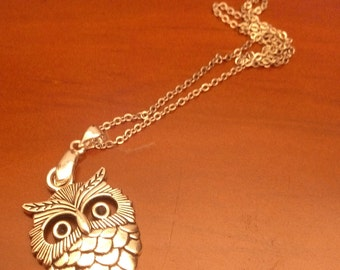 Silver OWL Locket and chain silver 2 x 3 cm