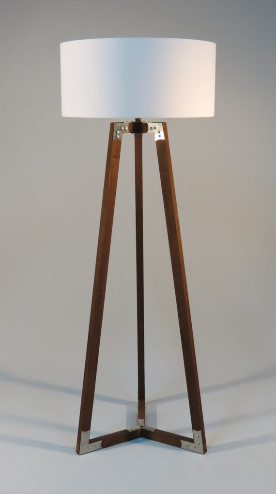 Handmade Wooden Lamps : Handmade tripod floor lamp wooden stand in dark by