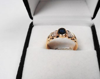 Sapphire Ring 14kt.  Natural Sapphire & Diamond 14kt. Gold Ring.