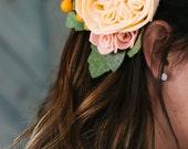 made to order wool felt bridal floral hair clip // custom // wedding