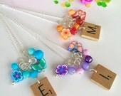 Initial Necklace - Scrabble Tile Flowers Butterflies Kawaii