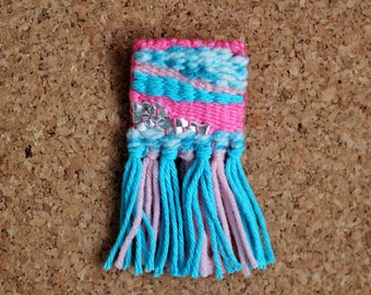 Pink and Light Blue Woven Brooch
