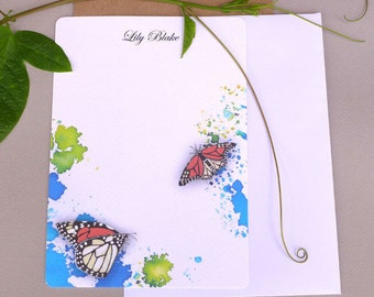 Stationary Paper, Note Cards, Flat Note Cards, Personalized Stationary Set, Letter Paper, Correspondence, Watercolor Monarch Butterflies