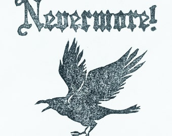 Nevermore stamp, raven stamp, Edgar Allen Poe stamp, nevermore rubber stamp, bird stamp, Halloween stamp set, hand carved stamp
