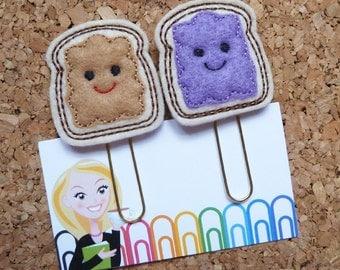 Felt Peanut Butter and Grape Jelly Paper Clip | Refrigerator Magnet | Cute Brooch Pin |Organizer | Calendar | Planner Accessory | 164