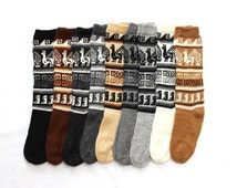 SUMMER SALE 12% OFF* Bolivian Peruvian Alpaca Yarn Long Socks Light and Warm in Natural Colors with Ethnic Andean Designs