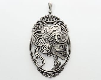 Dead Lady Skeleton Cameo Bronze or Silver Pendant Lolita