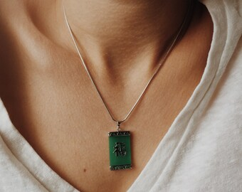 Rectangular jade pendant with Chinese character 'Fu' (fortune) in the middle, jade jewelry, Chinese jade-silver jewelry, jade-silver pendant