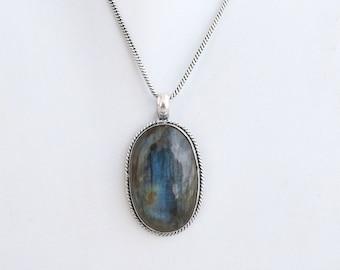 Labradorite Necklace, Silver Necklace, Labradorite Pendant, Faceted Labradorite Briolette, 3