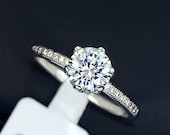 Brilliant 1.25 Carat Cubic Zirconia Ring Crown Design, Unique Engagement Ring, Promise Ring, Solitaire Ring, Crown Jewelry