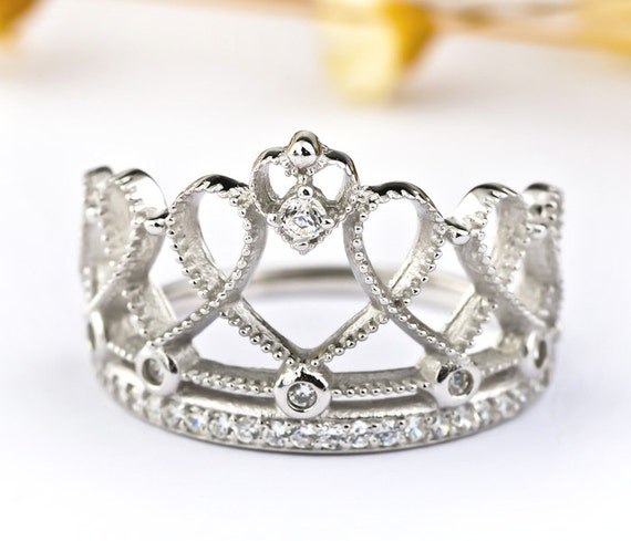 925 sterling silver princess crown ring by