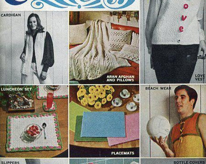 FREE US SHIP Knit Crochet Vintage Retro 1960's 60's Star Book 225 Aunt Lydia's Rug Yarn Collection Sexy Men's Bathing Suit Cover ups Poodle