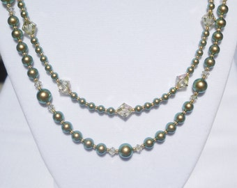 Swarovski green pearl and crystal 2-strand necklace